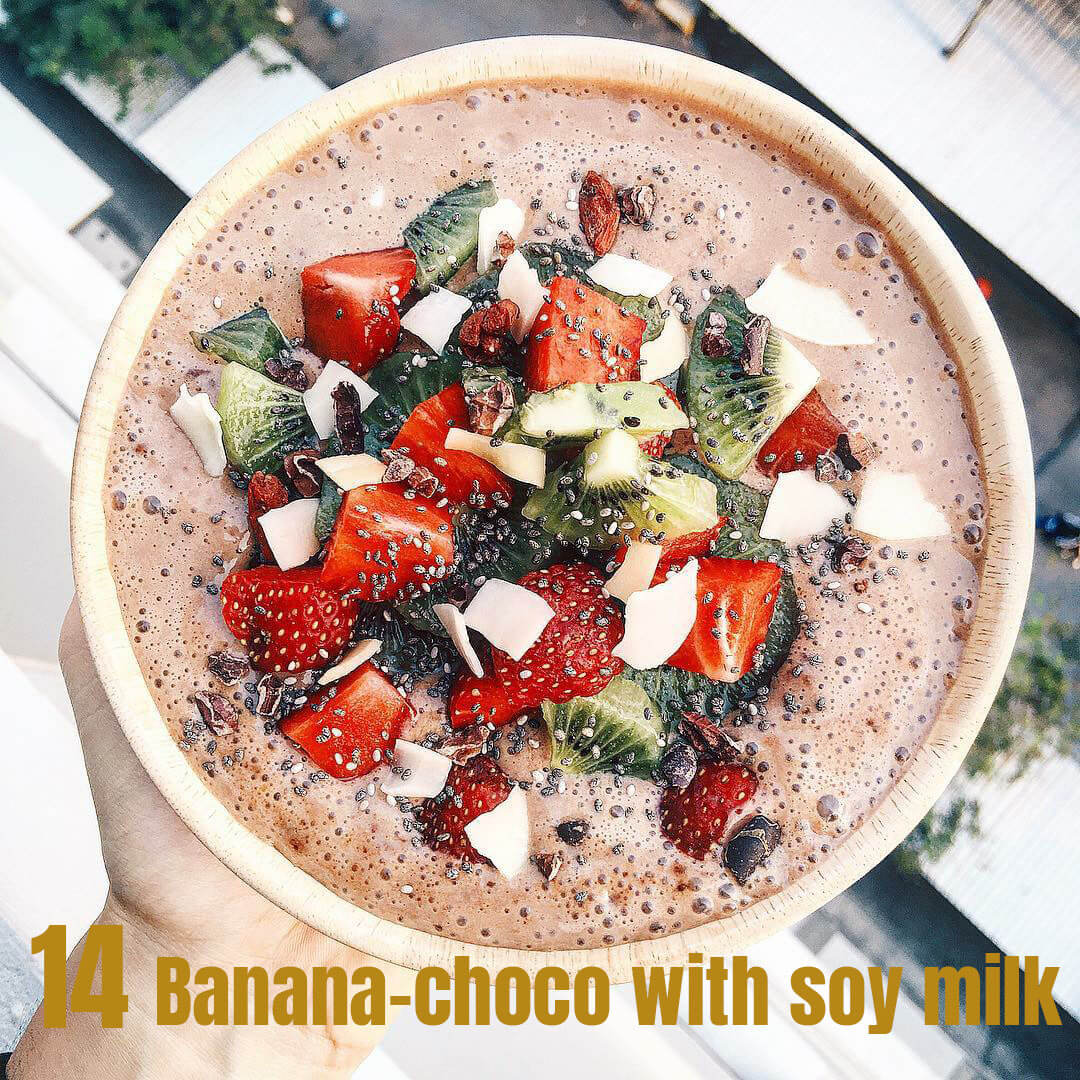 14. Banana-choco with soy milk smoothie